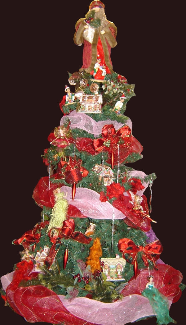 Decorated Royal  Santa, Elves and Fairies Christmas Tree